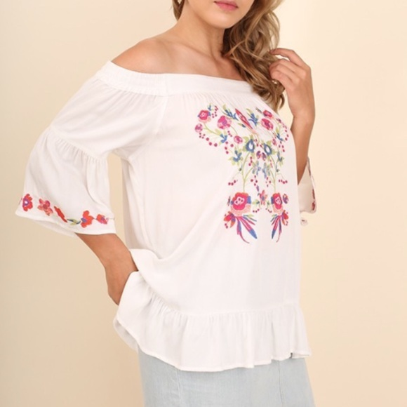 ff9eae74f1e UMGEE White Off Shoulder Embroidered Top XL 1X 2X. Boutique. Umgee.  18   42. Size